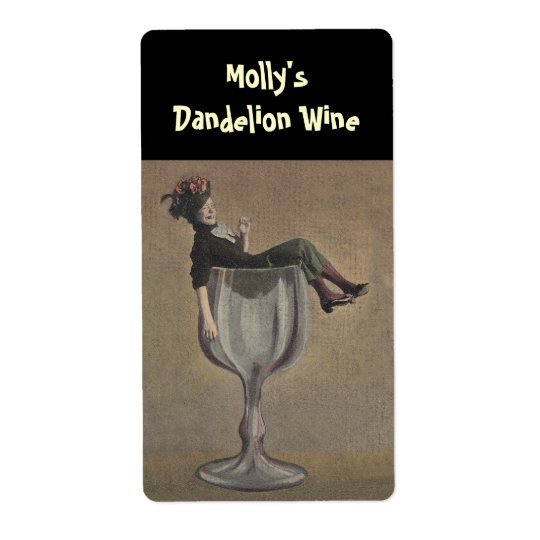 Bottle Labelling Funny Lady Wine Glass Shipping Label