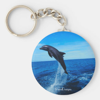 Bottle nose dolphin basic round button key ring