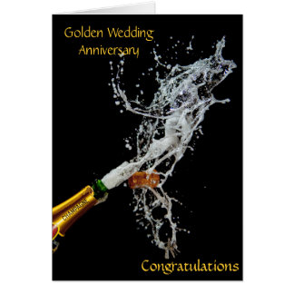Bottle of Champagne Golden Wedding Anniversary Greeting Card
