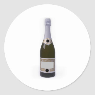 Bottle of Champagne with blank label Round Sticker