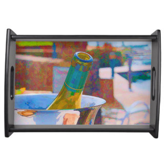 Bottle of Chardonnay by a Lake Impressionist Style Serving Tray