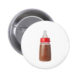 Bottle of chocolate flavoured milk 6 cm round badge