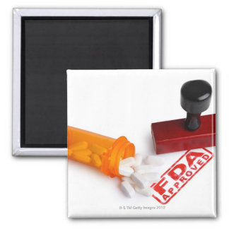 Bottle of Pills and a FDA APPROVED rubber stamp Fridge Magnet