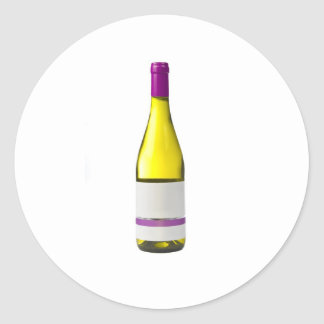Bottle of quality wine with blank label round sticker