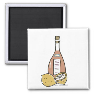 Bottle of Red Wine Square Magnet