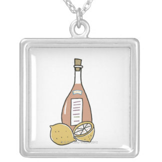 Bottle of Red Wine Square Pendant Necklace