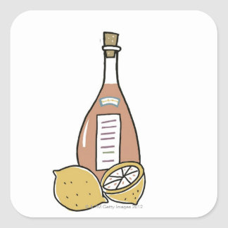 Bottle of Red Wine Square Sticker