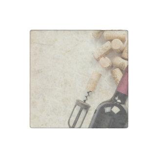 Bottle of Wine Stone Magnet