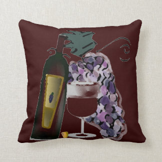 Bottle of Wine n Grapes Cushion