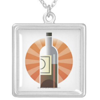 Bottle of Wine Silver Plated Necklace