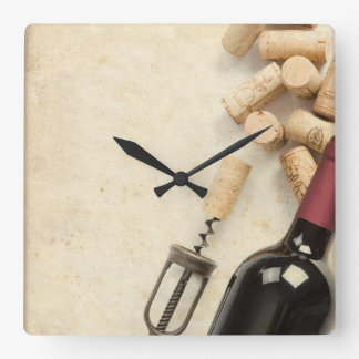 Bottle of Wine Square Wall Clock