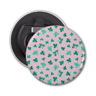 Bottle opener with clover leaves on pink