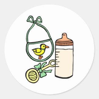 bottle rattle bib green round sticker