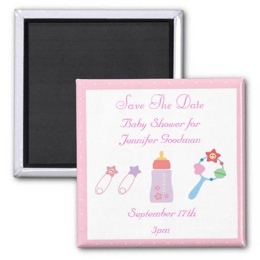 Bottle & Rattle Pink Save The Date Baby Shower Fridge Magnet