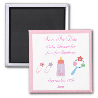 Bottle & Rattle Pink Save The Date Baby Shower Square Magnet