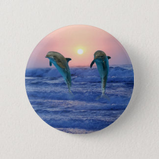 Bottlenose Dolphin at Sunrise 6 Cm Round Badge