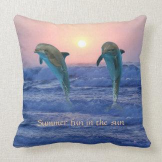 Bottlenose Dolphin at Sunrise Cushion