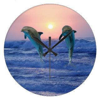 Bottlenose Dolphin at Sunrise Large Clock