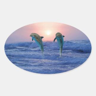 Bottlenose Dolphin at Sunrise Oval Sticker