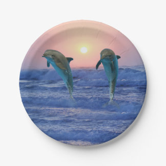 Bottlenose Dolphin at Sunrise Paper Plate