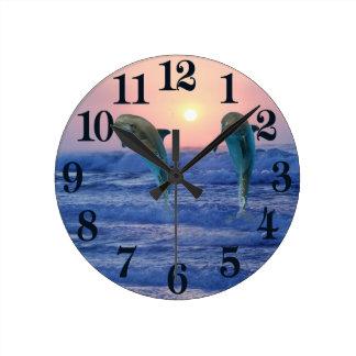 Bottlenose Dolphin at Sunrise Round Clock