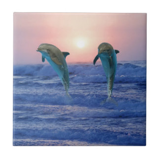 Bottlenose Dolphin at Sunrise Small Square Tile