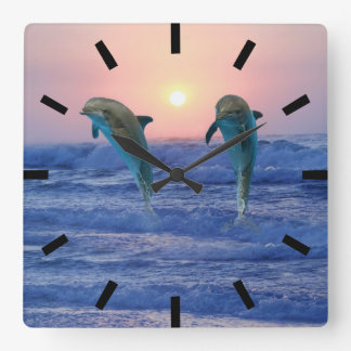 Bottlenose Dolphin at Sunrise Square Wall Clock