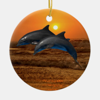 Bottlenose Dolphin at Sunset Christmas Ornament