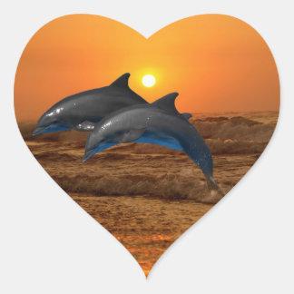 Bottlenose Dolphin at Sunset Heart Sticker