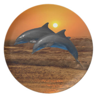 Bottlenose Dolphin at Sunset Plate