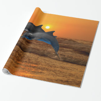 Bottlenose Dolphin at Sunset Wrapping Paper