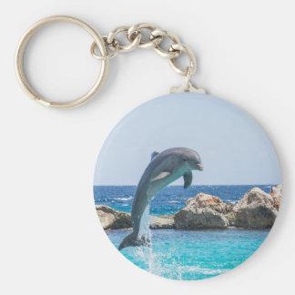 Bottlenose Dolphin Basic Round Button Key Ring