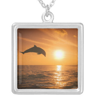 Bottlenose Dolphin jumping Silver Plated Necklace