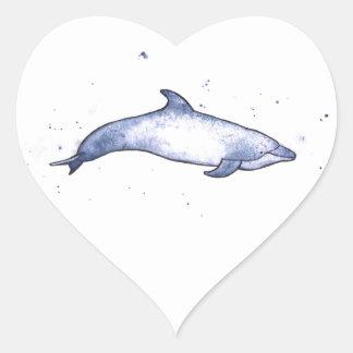 Bottlenose dolphin sea illustration heart sticker