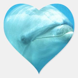 Bottlenose Dolphin Underwater Heart Sticker