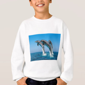 bottlenose dolphins jumping out of clear blue sea sweatshirt