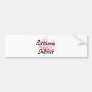 Bottlenose Dolphins with flowers background Bumper Sticker