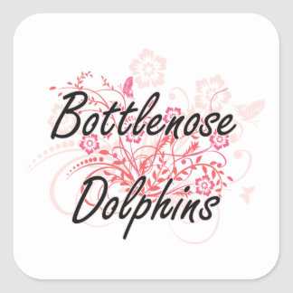 Bottlenose Dolphins with flowers background Square Sticker