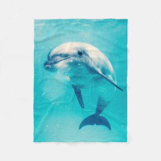 Bottlenosed Dolphin Underwater Fleece Blanket