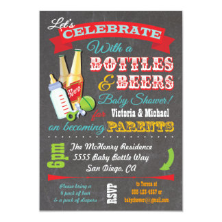 Bottles and Beer Couples baby shower invitations