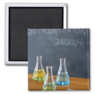 Bottles arranged for science experiment square magnet