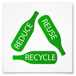 Bottles forming the recycle icon photograph