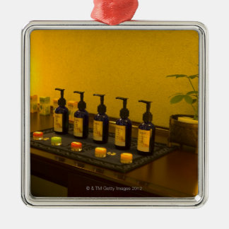 Bottles of aromatherapy oil in the beauty salon, christmas ornament