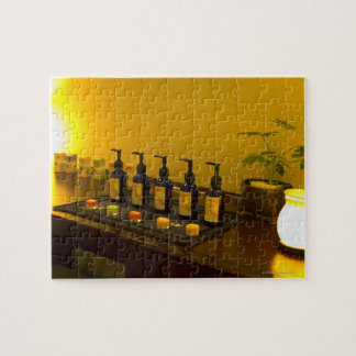 Bottles of aromatherapy oil in the beauty salon, jigsaw puzzle