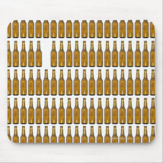Bottles of beer on white background mouse mat