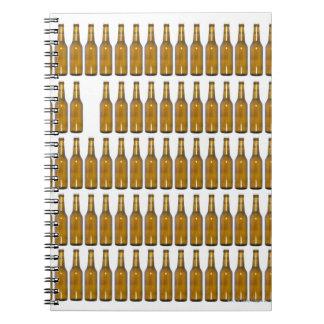 Bottles of beer on white background notebook