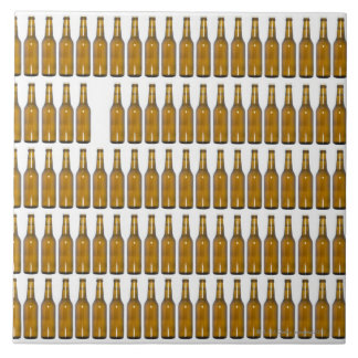 Bottles of beer on white background tile