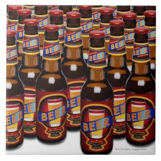 Bottles of beer side by side (Digital Composite) Large Square Tile