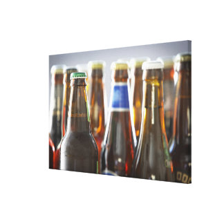 Bottles of various bottled beer in studio canvas print