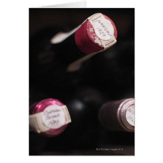 Bottles of wine, close-up, Sweden. Card
